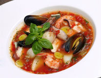 Tomato soup with seafood and fish Stock Image