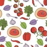 Tomato soup seamless pattern. Tomato soup kitchen seamless pattern Stock Photo