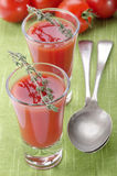 Tomato soup in a shot glass Stock Photos