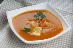 Tomato soup with shrimps Stock Image