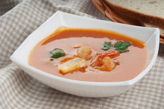 Tomato soup with shrimps Royalty Free Stock Image