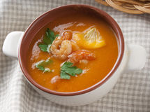 Tomato soup with shrimps Stock Images