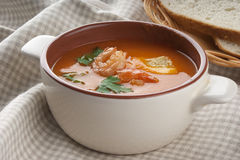 Tomato soup with shrimps Stock Photography