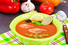 Tomato Soup with Shrimps Diet Food Royalty Free Stock Photography