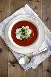 Tomato soup with sour cream Royalty Free Stock Photos