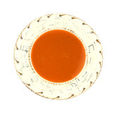 Tomato soup in Southwestern style bowl. A serving of tomato soup in a Southwestern style bowl Royalty Free Stock Photography