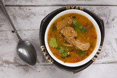 tomato soup with soy meat Stock Photo