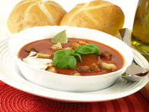 Tomato soup for a starter Royalty Free Stock Image
