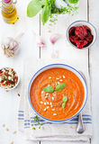 Tomato soup with sun dried tomatoes and olive oil Stock Photo