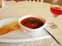 Tomato soup on the table Royalty Free Stock Images