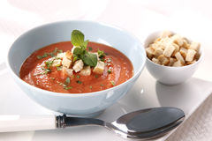 Tomato soup. Tasty and hot tomato soup Royalty Free Stock Photo