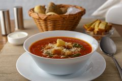 Tomato soup. Sprinkled with cheese and breadcrumbs stock photography
