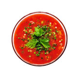 Tomato soup. Top view of tomato soup isolated on white background Stock Photography
