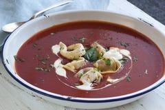 Tomato Soup with Tortellini Royalty Free Stock Photo