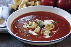 Tomato Soup with Tortellini Stock Photography
