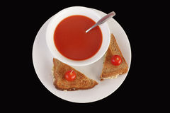 Tomato Soup with Tuna Salad Royalty Free Stock Images