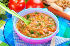 Tomato soup with vegetables for baby Stock Photo