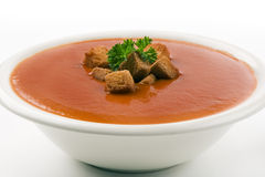 Tomato soup on white background royalty free stock photos