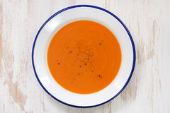 Tomato soup in white plate Royalty Free Stock Photos