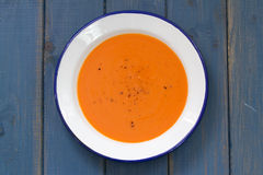 Tomato soup in white plate Stock Photography