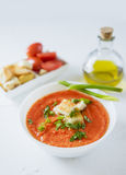 Tomato soup in white plate Royalty Free Stock Images