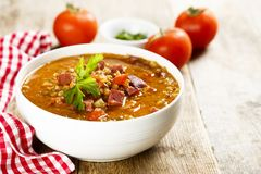 Tomato Soup With Smoked Sausage And Lentils Royalty Free Stock Photo
