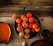 Tomato soup on wood Stock Images