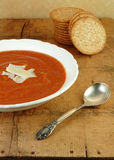 Tomato Soup on Wooden Table Royalty Free Stock Photo
