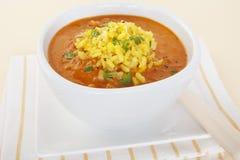 Tomato Soup with Yellow Rice Bowl Vegetarian Vegan Royalty Free Stock Image