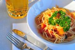 Tomato Spagetti. Italian Tomato Spagetti with Beer Stock Photos
