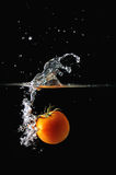Tomato splash. Water splash from a fresh tomato drop into the water Stock Photography