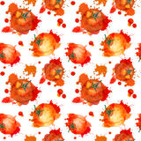 Tomato with splash. Seamless pattern. Watercolor Royalty Free Stock Image