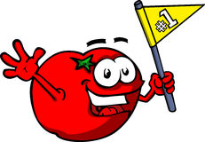 Tomato sports fan with flag Stock Photography
