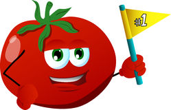Tomato sports fan with flag Stock Image
