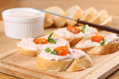 Tomato spread sandwiches Stock Image
