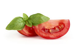 Tomato with a sprig of basil Stock Photography