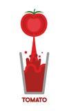 Tomato  squeeze into glass. Fresh tomato juice. Vector illustrat Royalty Free Stock Photo