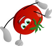 Tomato standing on one hand Royalty Free Stock Photos