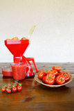 Tomato strainer and fresh tomatoes Royalty Free Stock Images
