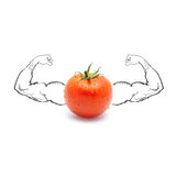 Tomato with strong  biceps Royalty Free Stock Image