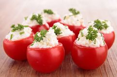 Tomato stuffed with cheese cream Stock Images