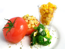 Tomato Stuffed with corn Stock Photography