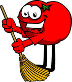 Tomato sweeping with broom Royalty Free Stock Photos