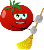 Tomato sweeping with broom Stock Photo