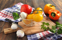Tomato, sweet pepper and garlic Royalty Free Stock Image