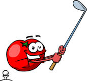 Tomato swinging his golf club Stock Photos