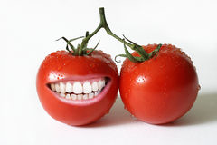 Tomato with teeth Royalty Free Stock Image
