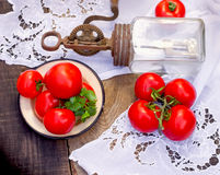 Tomato - tomatoes and rustic hand blender Stock Photos