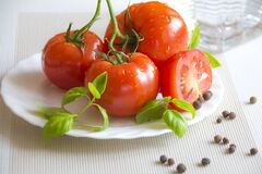 Tomato Top of White Ceramic Plate Royalty Free Stock Photos
