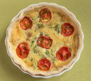 Tomato Topped Quiche Lorraine. Royalty Free Stock Photography